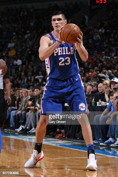 Ersan Ilyasova of the Philadelphia 76ers looks to pass the ball during the game against the Milwaukee Bucks on March 4 2018 at the BMO Harris Bradley...