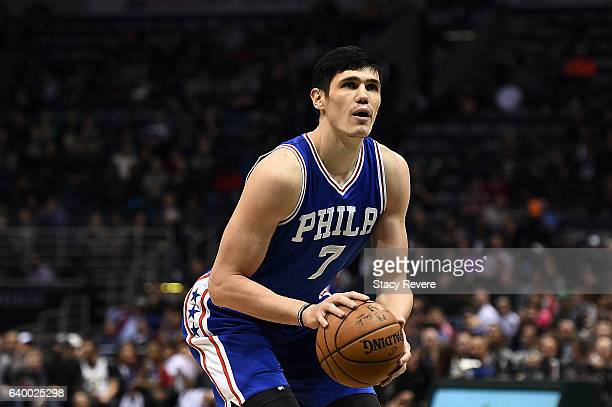 Ersan Ilyasova of the Philadelphia 76ers shoots a free throw during the second half of a game against the Milwaukee Bucks at the BMO Harris Bradley...