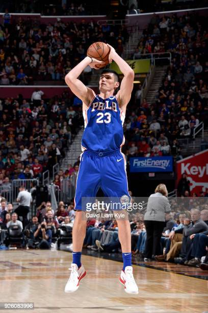 Ersan Ilyasova of the Philadelphia 76ers shoots the ball against the Cleveland Cavaliers on March 1 2018 at Quicken Loans Arena in Cleveland Ohio...