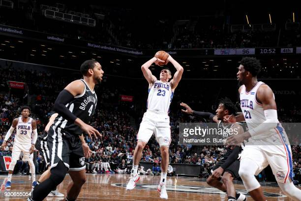 Ersan llyasova of the Philadelphia 76ers shoots the ball during the game against the Brooklyn Nets on March 11 2018 at Barclays Center in Brooklyn...