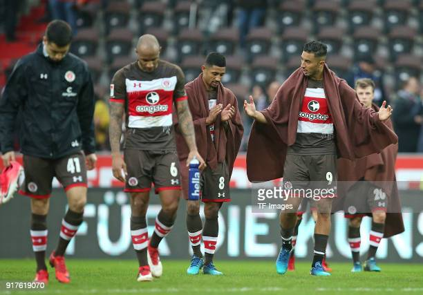 Ersin Zehir of St Pauli Christopher Avevor of St Pauli Jeremy Dudziak of St Pauli Aziz Bouhaddouz of St Pauli and Richard Neudecker of St Pauli look...
