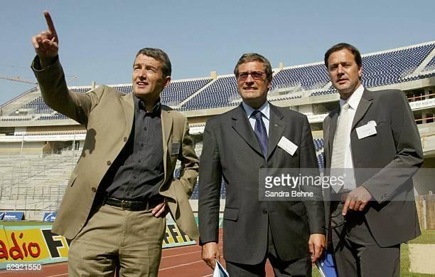 Erste gemeinsame Inspektionsreise der FIFA und des OK 2006 durch die zwlf WM Stadien Frankfurt vli Wolfgang NIERSBACH Walter GAGG Markus SIEGLER