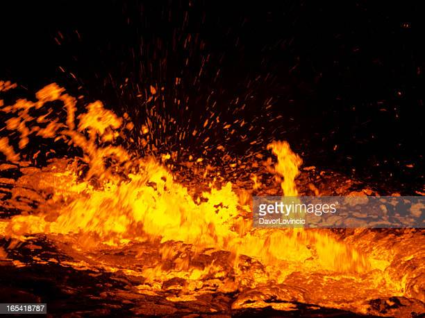 erta ale boiling - lava stock photos and pictures