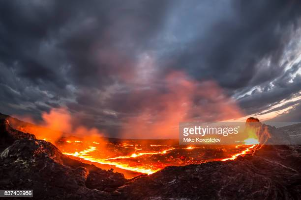 erta ale lava lake - lava stock pictures, royalty-free photos & images