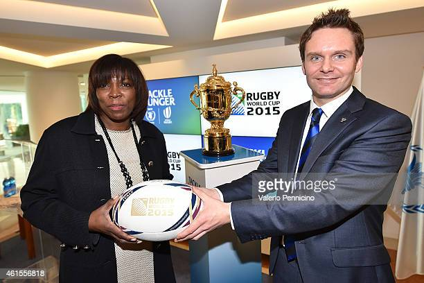 Ertharin Cousin Executive Director of UN World Food Programme and Dom Rumbles Head of Communications at World Rugby take part in headquarters of the...