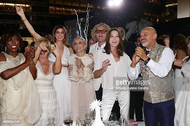 Ertharin Cousine Alberta Ferretti Bianca Brandolini d'Adda Franca Sozzani Peter Dundas Carla Bruni and Christian Louboutin dance at the Gala event...