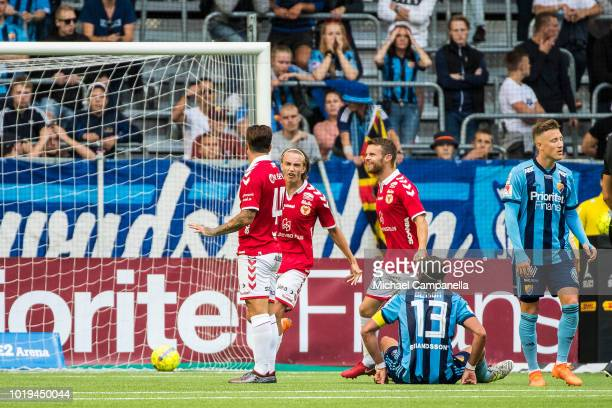 Erton Fejzullahu of Kalmar FF scores the 10 goal against his former team and does not celebrate during an Allsvenskan match between Djurgardens IF...