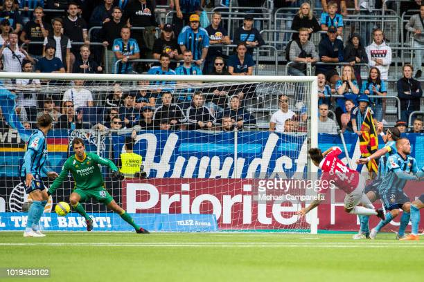 Erton Fejzullahu of Kalmar FF scores the 10 goal during an Allsvenskan match between Djurgardens IF and Kalmar FF at Tele2 Arena on August 19 2018 in...