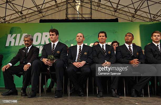 Erueti Biddle sits with captain James Horwill coach Robbie Deans and Sekope Kepu during the Australian Wallabies IRB Rugby World Cup 2011 official...