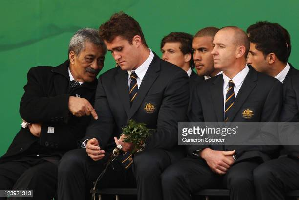 Erueti Biddle talks to captain James Horwill during the Australian Wallabies IRB Rugby World Cup 2011 official team welcome ceremony at Aotea Square...