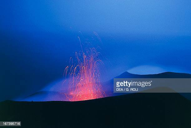 Erupting volcano at night on the island of Stromboli Aeolian Islands Sicily Italy