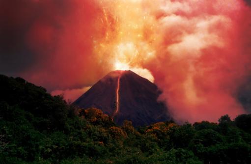 erupting volcano 90813666
