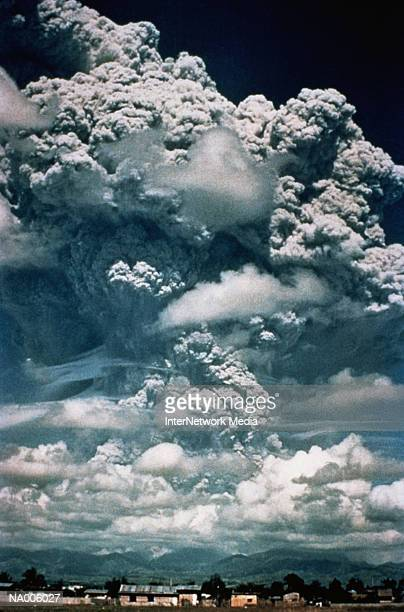 erupting volcano - mt pinatubo stock photos and pictures