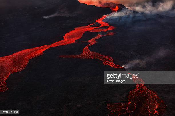 eruption, holuhraun, bardarbunga volcano, iceland - lava stock pictures, royalty-free photos & images