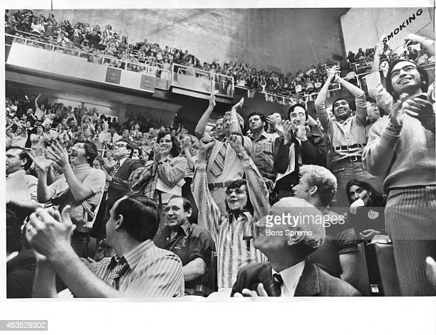 Eruption of joy at Canada's second goal set Maple Leaf gardens' crowd into an orgy of cheering in Toronto last night when Yvan Cournoyer snapped a...