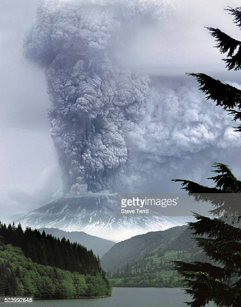 Eruption of Mount St Helens viewed from Yale Lake taken on May 18 1980 in GiffordPinchot National Forest Washington