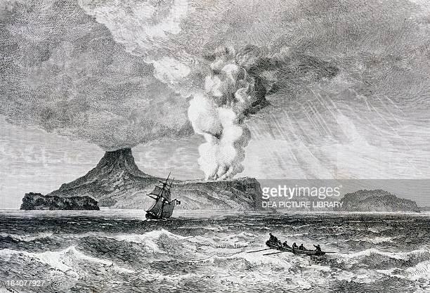 Eruption of Perbuatan volcano on Krakatoa Island August 1883 Indonesia 19th century