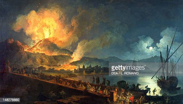 Eruption of Vesuvius from the Ponte della Maddalena by PierreJacques Volaire oil on canvas 129x260 cm Naples Museo Nazionale Di Capodimonte
