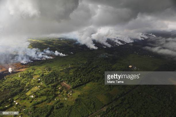 Eruptive activity from the Kilauea volcano continues in the vicinity of fissure 17 on Hawaii's Big Island on May 16 2018 in Pahoa Hawaii The US...