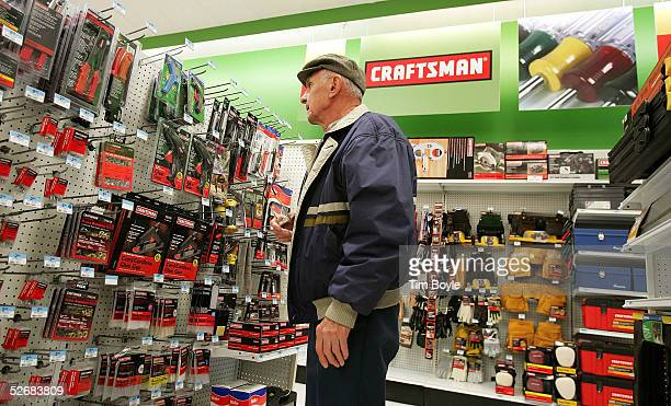 Erv Licko looks at Craftsman tools in a newly revamped Kmart store April 22 2005 in Norridge Illinois The store is one of nine test stores where some...