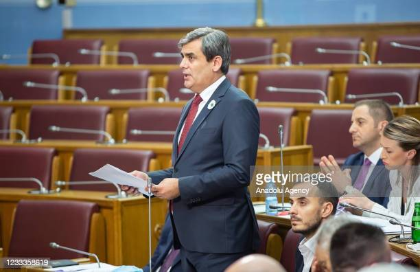Ervin Ibrahimovic, one of the Bosniak Party Members of the Parliament makes a speech during the session for the draft law on the recognition of the...