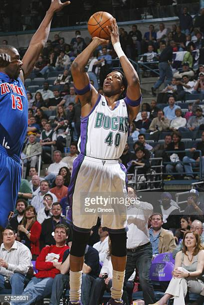 Ervin Johnson of the Milwaukee Bucks shoots against the Detroit Pistons in game three of the Eastern Conference Quarterfinals during the 2006 NBA...