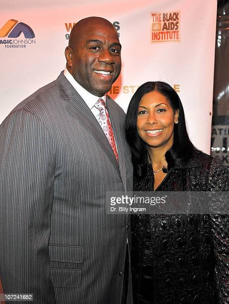 Ervin Magic Johnson and his wife Cookie Johnson attend the 10th Annual Heroes in the Struggle Gala at the Avalon on December 1 2010 in Hollywood...