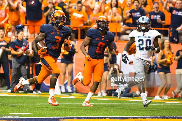 Ervin Philips of the Syracuse Orange runs in a touchdown reception making it 140 during the first quarter against the Rhode Island Rams on September...