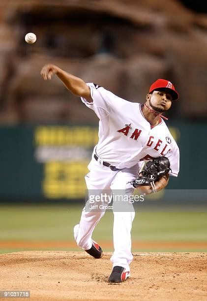 Ervin Santana of the Los Angeles Angels of Anaheim pitches against the New York Yankees in the first inning at Angel Stadium on September 22 2009 in...