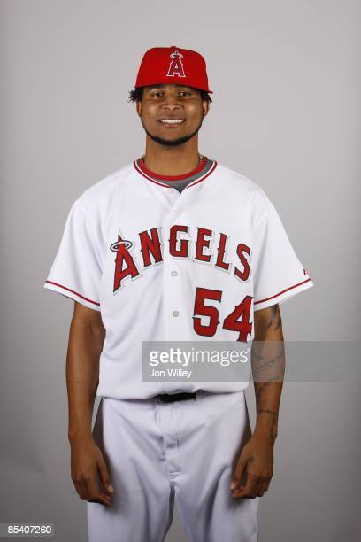 Ervin Santana of the Los Angeles Angels of Anaheim poses during Photo Day on Wednesday February 25 2009 at Tempe Diablo Stadium in Tempe Arizona