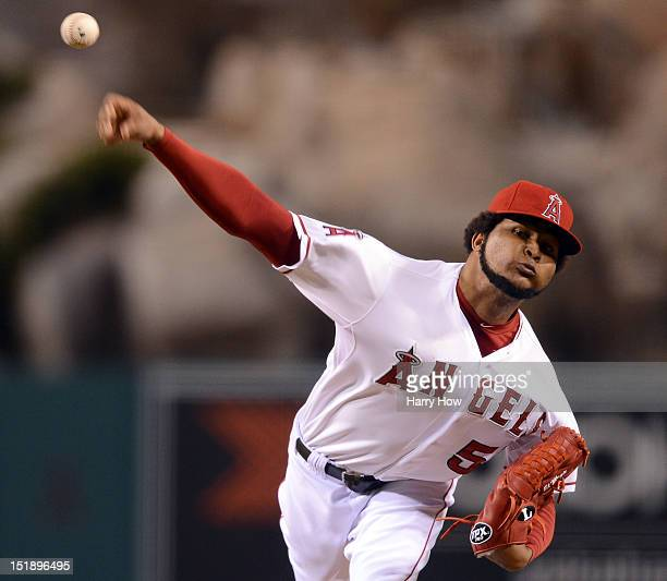 Ervin Santana of the Los Angeles Angels pitches against the Oakland Athletics during the first inning at Angel Stadium of Anaheim on September 12...