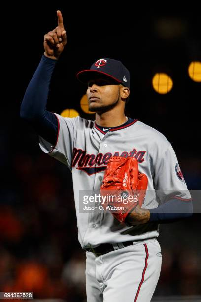 Ervin Santana of the Minnesota Twins celebrates after the game against the San Francisco Giants at ATT Park on June 9 2017 in San Francisco...