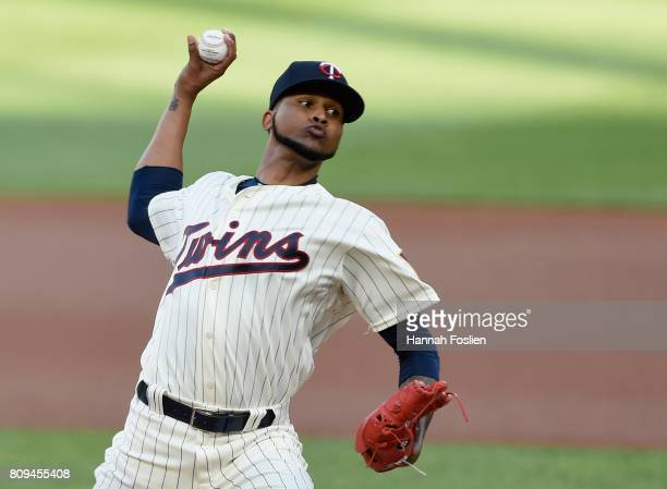Ervin Santana of the Minnesota Twins delivers a pitch against the Los Angeles Angels of Anaheim during the first inning of the game on July 5 2017 at...