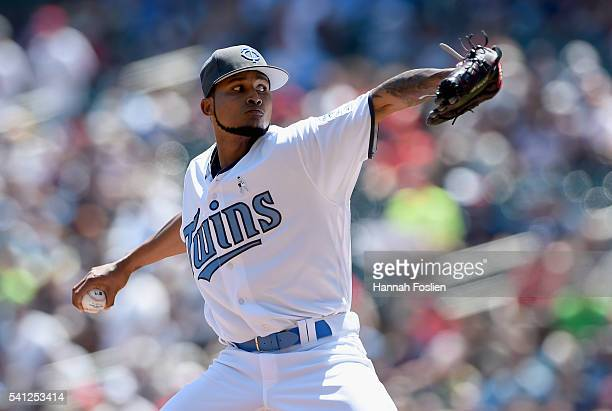 Ervin Santana of the Minnesota Twins delivers a pitch against the New York Yankees during the first inning of the game on June 19 2016 at Target...