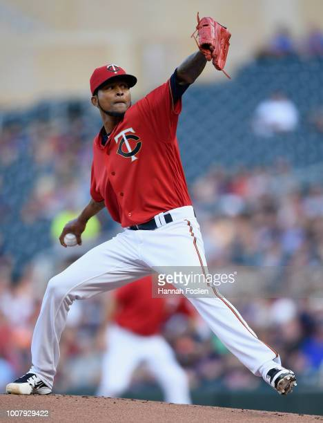 Ervin Santana of the Minnesota Twins delivers a pitch against the Cleveland Indians during the first inning of the game on July 30 2018 at Target...