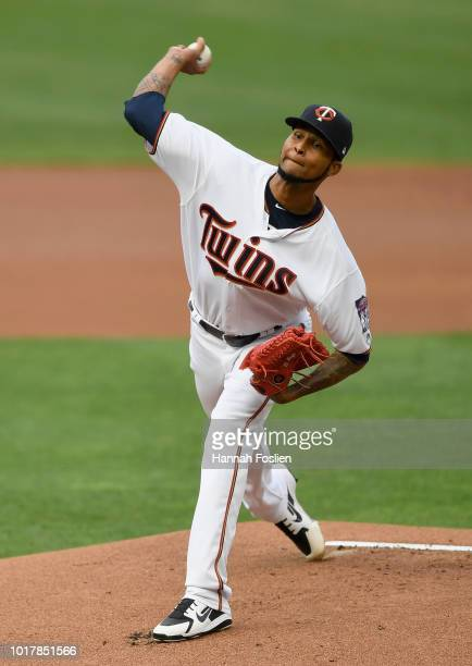 Ervin Santana of the Minnesota Twins delivers a pitch against the Detroit Tigers during the first inning of the game on August 16 2018 at Target...