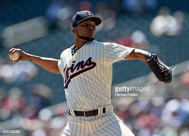 Ervin Santana of the Minnesota Twins delivers a pitch against the Oakland Athletics during the first inning of the game on July 6 2016 at Target...