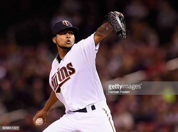 Ervin Santana of the Minnesota Twins delivers a pitch against the Detroit Tigers during the second inning of game two of a doubleheader on September...