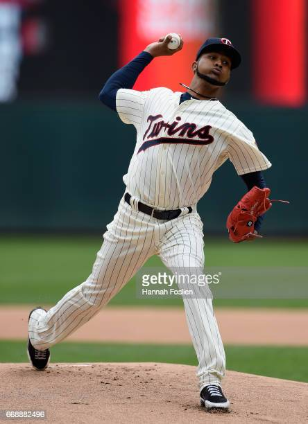 Ervin Santana of the Minnesota Twins delivers a pitch against the Chicago White Sox during the first inning of the game on April 15 2017 at Target...
