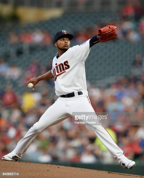 Ervin Santana of the Minnesota Twins delivers a pitch against the Chicago White Sox during the first inning of the game on August 29 2017 at Target...