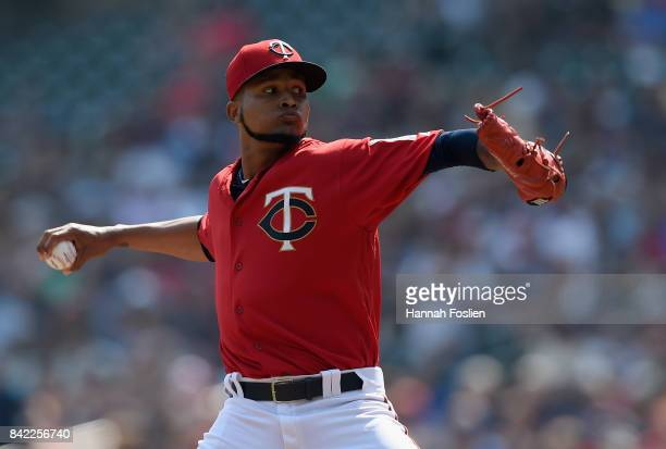 Ervin Santana of the Minnesota Twins delivers a pitch against the Kansas City Royals during the first inning of the game on September 3 2017 at...