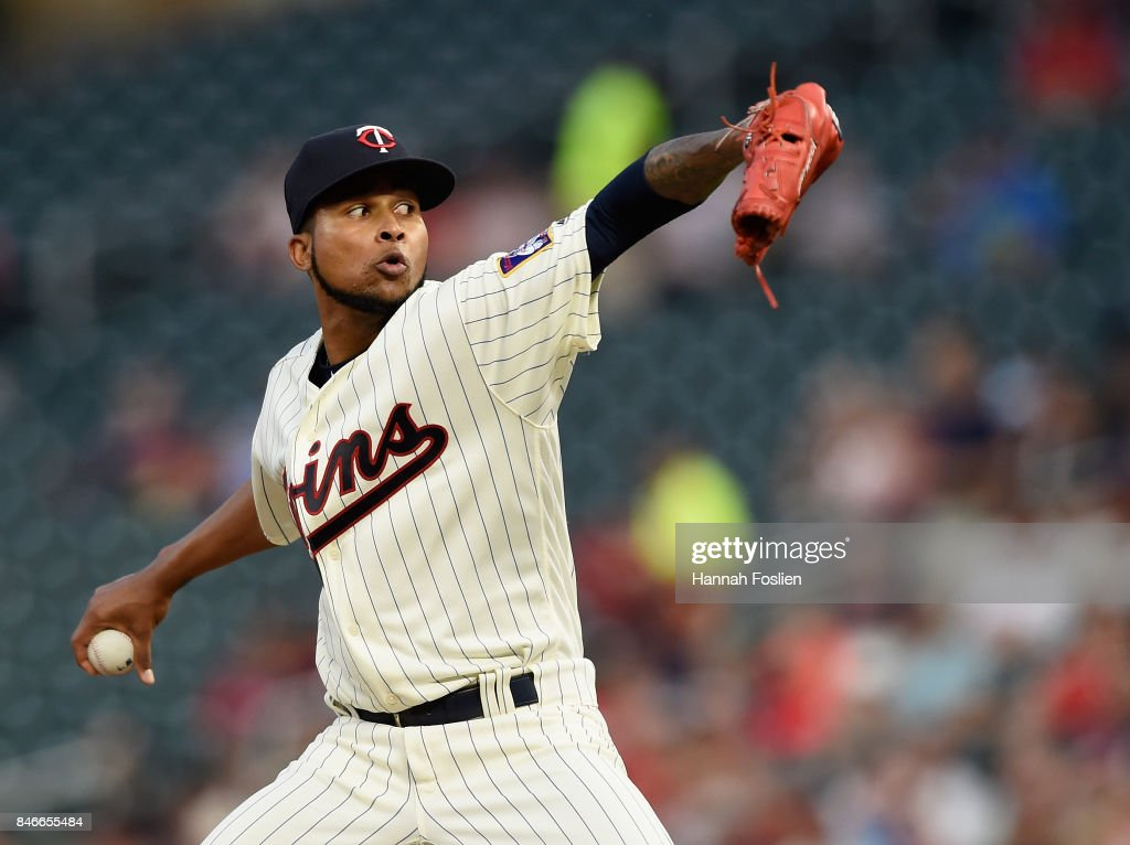 Ervin Santana #54 of the Minnesota Twins delivers a pitch against the San Diego Padres during the first inning of the game on September 13, 2017 at Target Field in Minneapolis, Minnesota.