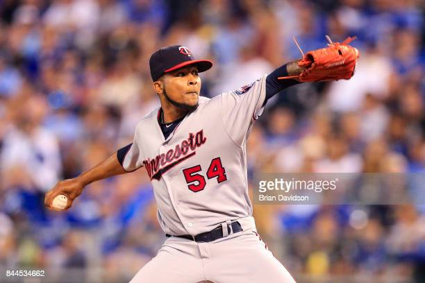 Ervin Santana of the Minnesota Twins pitches against the Kansas City Royals during the game at Kauffman Stadium on September 8 2017 in Kansas City...