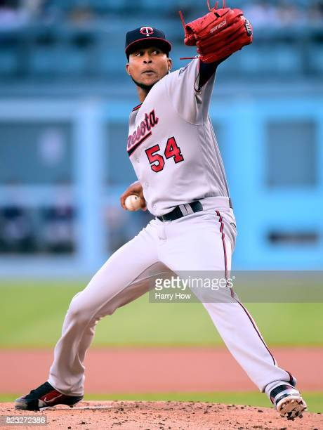 Ervin Santana of the Minnesota Twins pitches against the Los Angeles Dodgers during the first inning at Dodger Stadium on July 26 2017 in Los Angeles...
