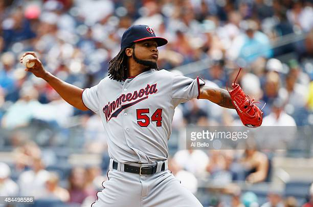Ervin Santana of the Minnesota Twins pitches against the New York Yankees during their game at Yankee Stadium on August 19 2015 in New York City