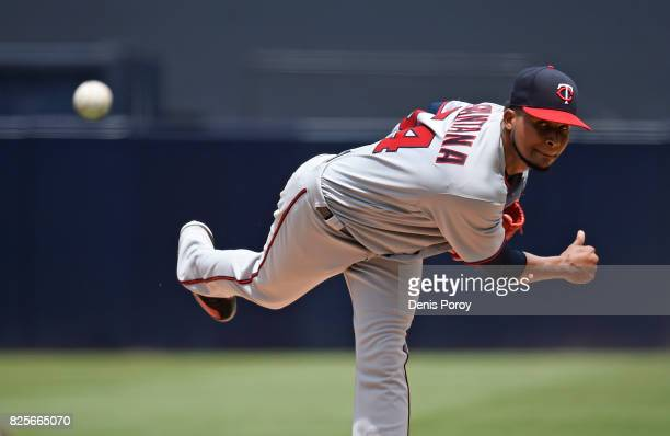 Ervin Santana of the Minnesota Twins pitches during the first inning of a baseball game against the San Diego Padres at PETCO Park on August 2 2017...