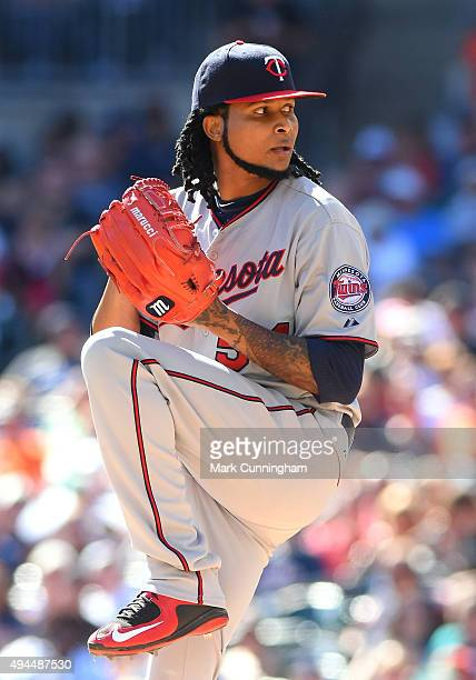 Ervin Santana of the Minnesota Twins pitches during the game against the Detroit Tigers at Comerica Park on September 27 2015 in Detroit Michigan The...