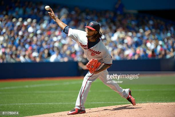 Ervin Santana of the Minnesota Twins pitches during the game against the Toronto Blue Jays at the Rogers Centre on Monday August 3 2015 in Toronto...