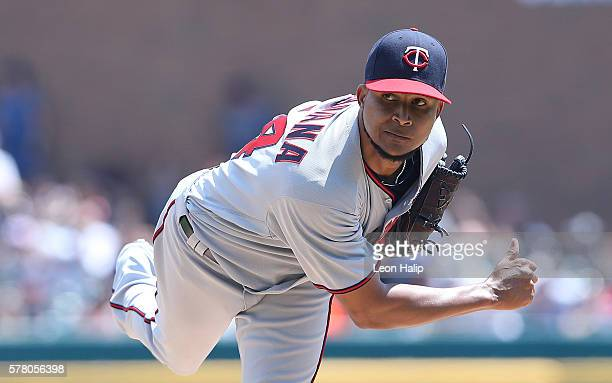 Ervin Santana of the Minnesota Twins pitches during the third inning of the game against the Detroit Tigers on July 20 2016 at Comerica Park in...
