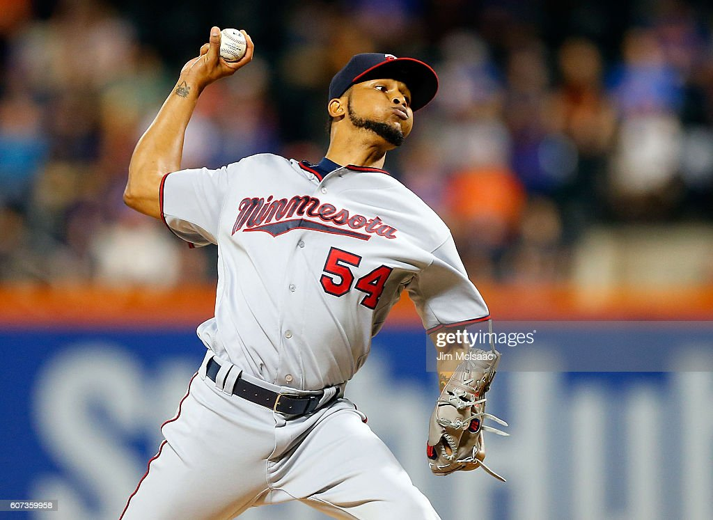 Ervin Santana #54 of the Minnesota Twins pitches in the first inning against the New York Mets at Citi Field on September 17, 2016 in the Flushing neighborhood of the Queens borough of New York City.